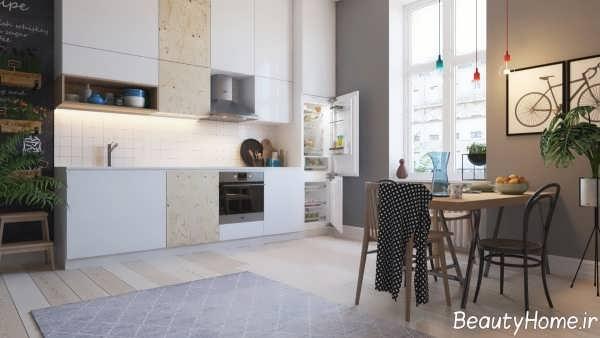 دکوراسیون آشپزخانه خطی مدرن و شیک