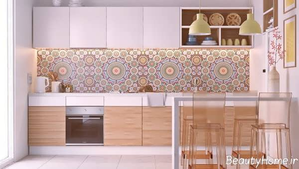 دکوراسیون آشپزخانه خطی شیک و مدرن