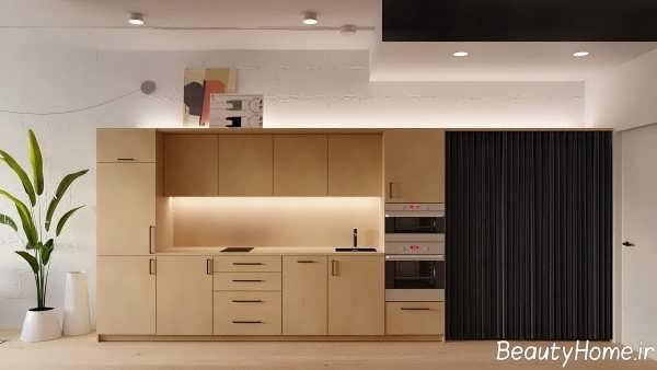 دیزاین دکوراسیون آشپزخانه خطی