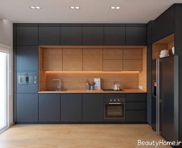 دکوراسیون زیبا آشپزخانه خطی