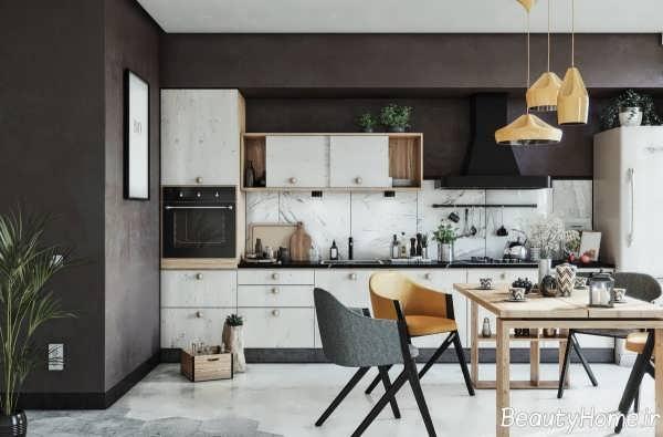 دیزاین داخلی آشپزخانه خطی