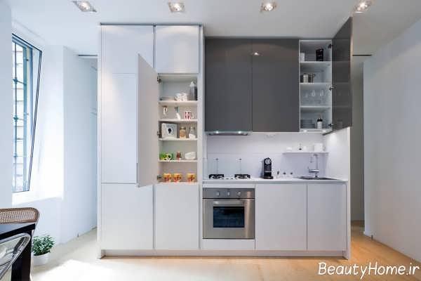 طراحی داخلی آشپزخانه طوسی و خطی
