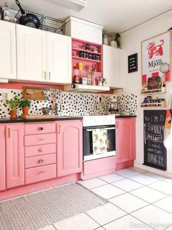 کابینت صورتی و سفید آشپزخانه