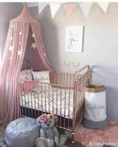 دکوراسیون اتاق نوزاد دخترانه کوچک