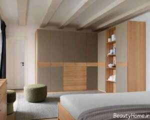 کمد دیواری دو رنگ و زیبا برای اتاق خواب های لوکس