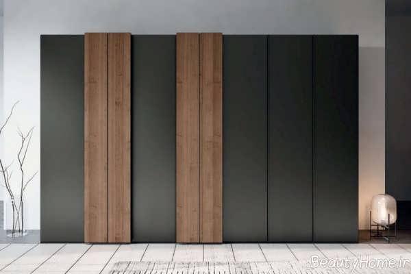 مدل کمد دیواری 2022 قهوه ای و مشکی