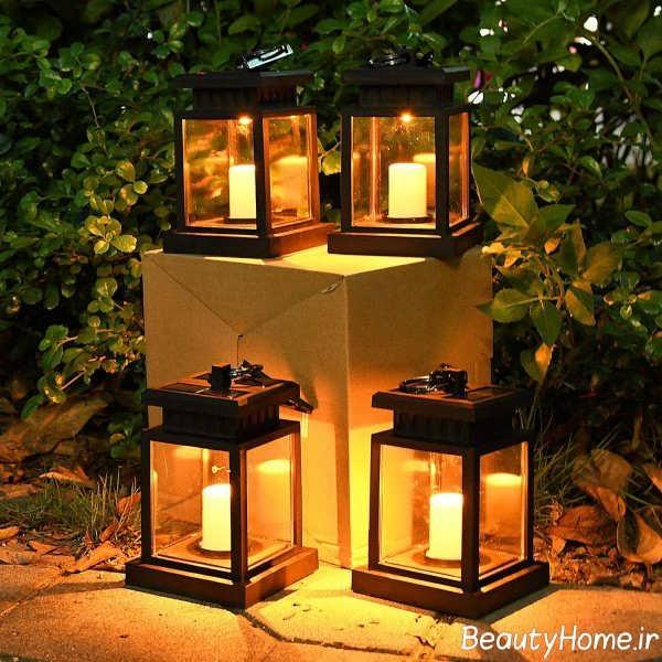 نورپردازی حیاط با شمع