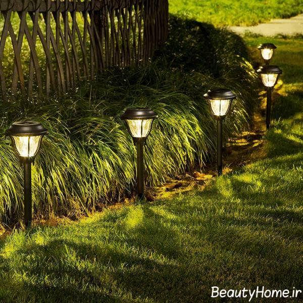 طراحی نورپردازی شیک حیاط