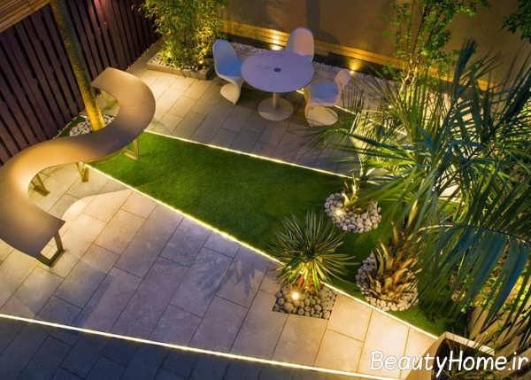 طراحی نورپردازی حیاط