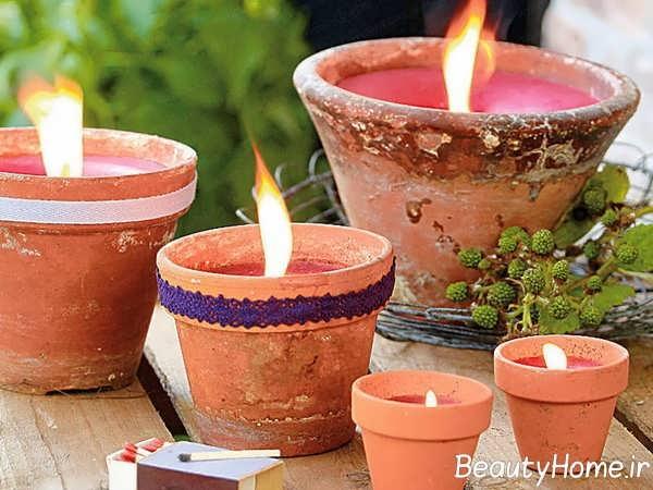دیزاین نورپردازی حیاط با شمع