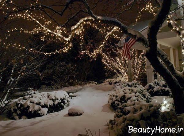 نورپردازی حیاط در فصل زمستان