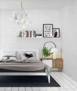 دیوار آجری سفید در دکوراسیون داخلی اتاق خواب