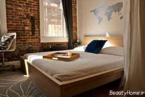 دکوراسیون اتاق خواب شیک با دیوار آجری