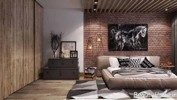 طراحی دکوراسیون شیک اتاق خواب با دیوار آجری