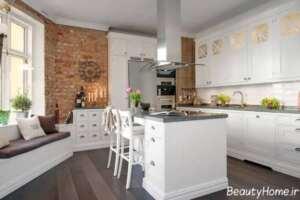 طراحی نمای داخلی آشپزخانه با دیوار آجری