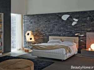 دیوار آجری طوسی در فضای اتاق خواب