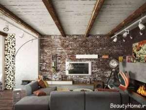 دیوار آجری برای تزیین پشت تلویزیون
