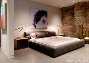 دیوار آجری برای اتاق خواب
