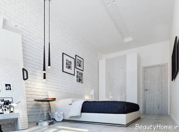 دیوار آجری سفید در فضای اتاق خواب