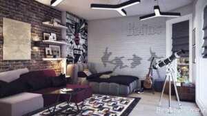 دیوار پوش آجری در طراحی داخلی پذیرایی
