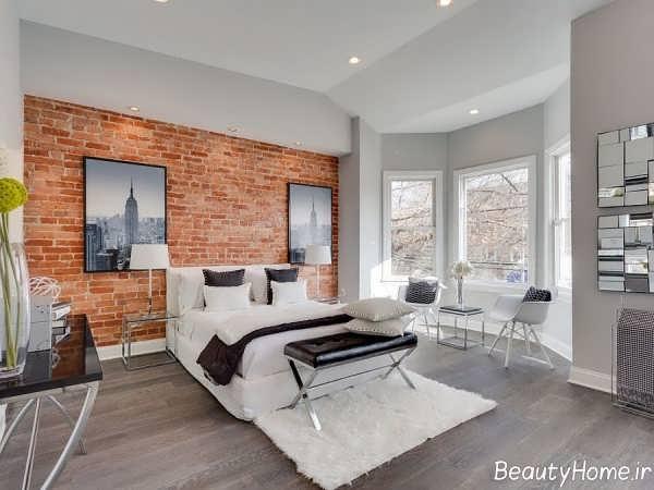مدل دیزاین اتاق خواب با دیوار آجری