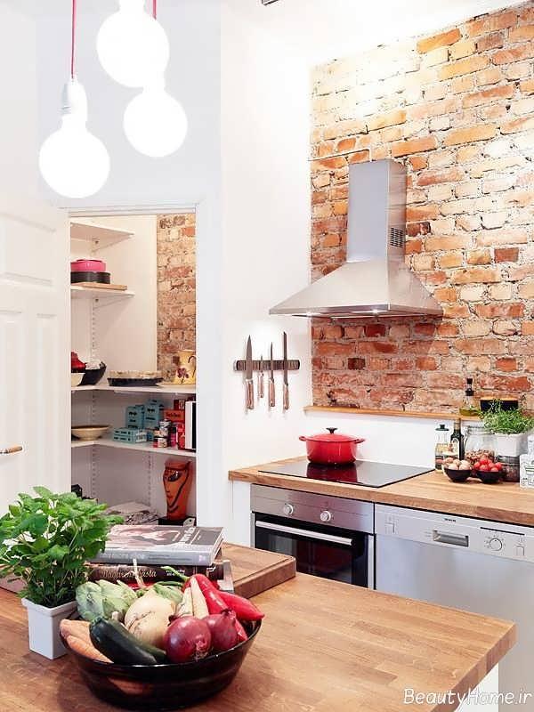 دکوراسیون آشپزخانه با دیوار آجری شیک