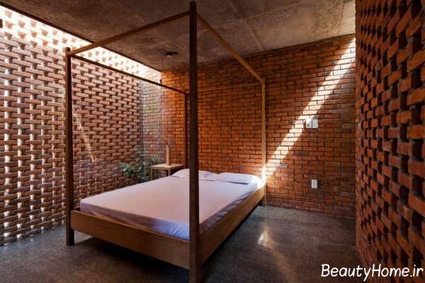 تزیین دیوار اتاق خواب با دیوار آجری
