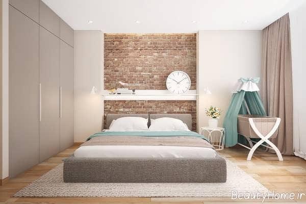 طراحی زیبا و شیک اتاق خواب با دیوار آجری