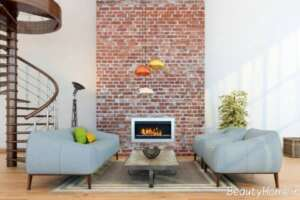 دیزاین دکوراسیون داخلی پذیرایی با دیوار آجری
