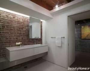 دیوار آجری در دیزاین داخلی سرویس بهداشتی