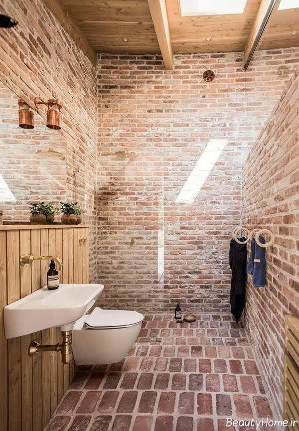طراحی دکوراسیون سرویس بهداشتی با دیوار آجری