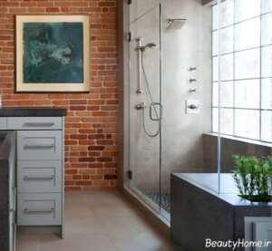 دیزاین شیک و خاص فضای سرویس بهداشتی با دیوار آجری