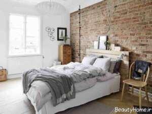 دیوار آجری در دکوراسیون جذاب اتاق خواب
