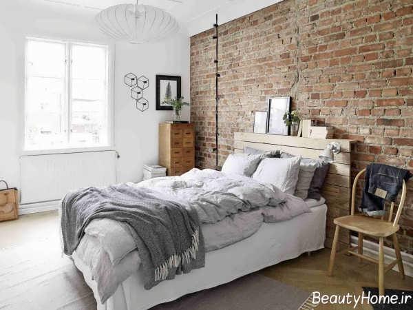 طراحی داخلی اتاق خواب با دیوار آجری