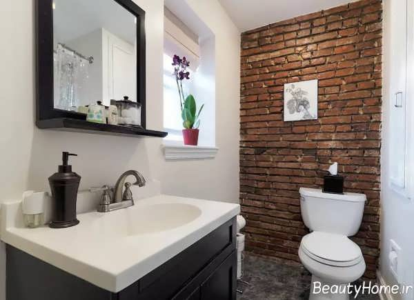 دیوار آجری خاص و ساده برای سرویس بهداشتی