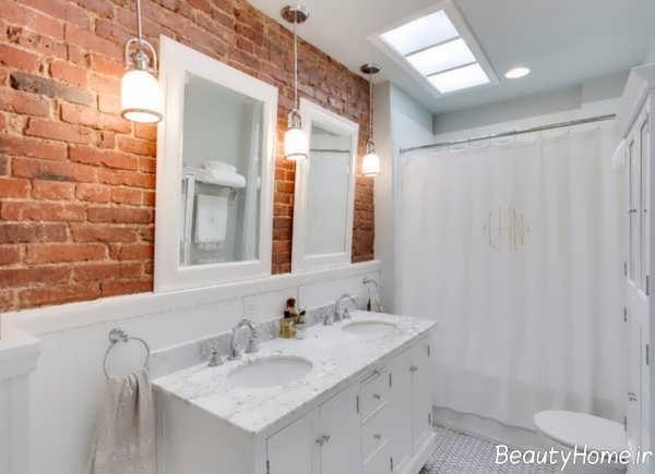طراحی شیک سرویس بهداشتی با دیوار آجری