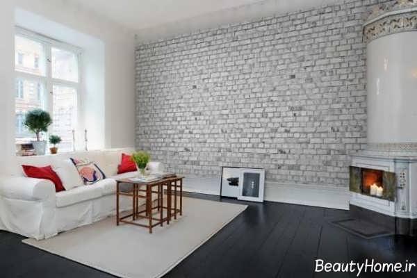 دیوار آجری در طراحی داخلی پذیرایی