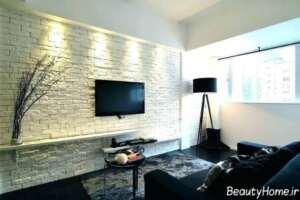 دیوار آجری رنگ روشن در دکوراسیون خانه شیک