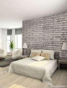 دیوار آجری در نمای داخلی اتاق خواب